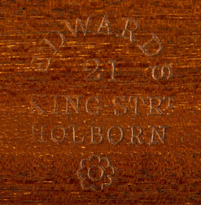 'Edwards, 21 King Strt, Holborn' Engraved into Solid Mahogany.