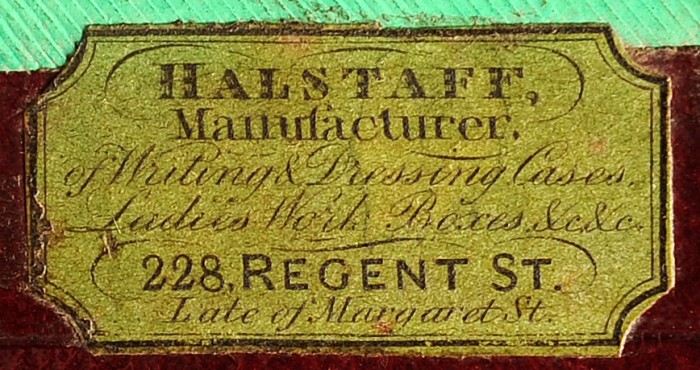 Makers Label for William Halstaff, 228 Regent Street, London.