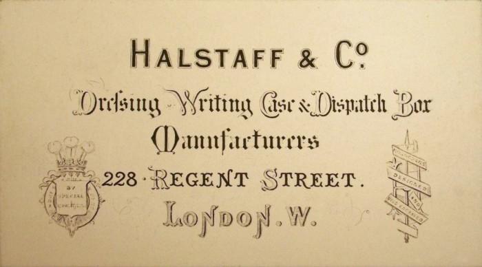 Business Card for Halstaff & Co, 228 Regent Street, London.