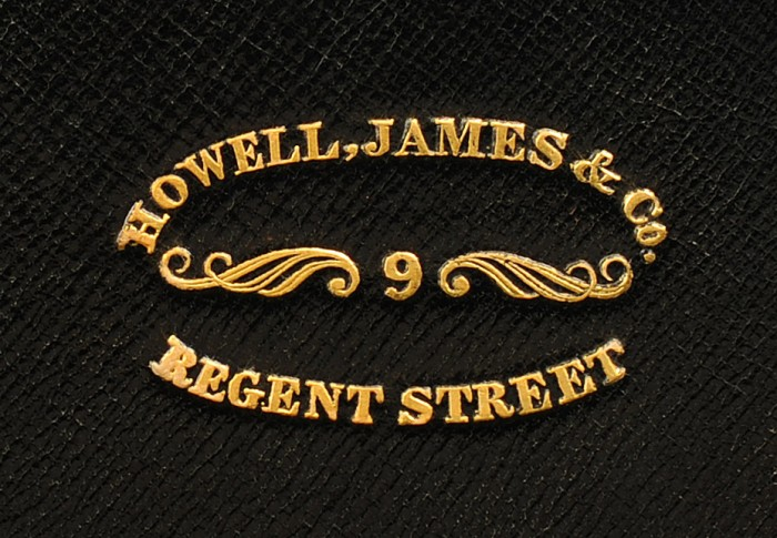 'Howell, James & Co, 9 Regent Street, London' Gold Tooled Maker's Mark taken from a Burr Walnut Jewellery Box.