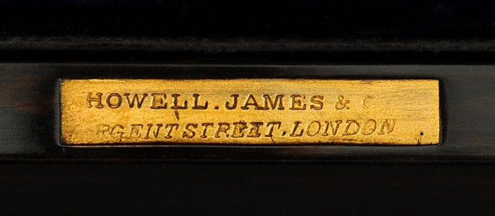'Howell, James & Co, Regent Street, London' Maker's Plate taken from an Antique Coromandel Jewellery Box.