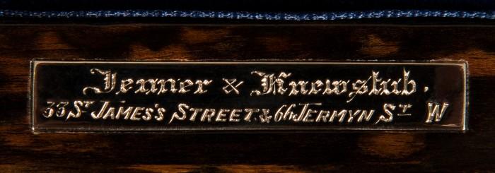 Jenner & Knewstub Maker's Plate from an Antique Coromandel Dressing Case.