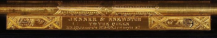 Jenner & Knewstub Engraved Brass Maker's Plate.