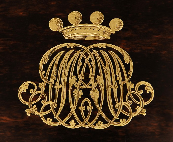 Engraved Brass Inlaid Monogram and Coronet from a Leuchars Coromandel Antique Jewellery Box.