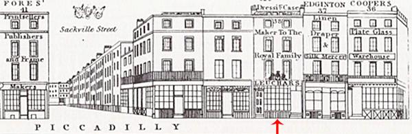 Leuchars Shop - 38 Piccadilly, London - Tallis London Street Views 1838 - 1840.