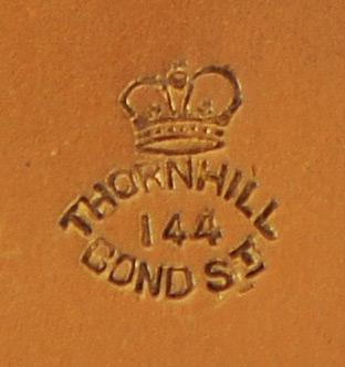 Thornhill Maker/ Retailer Stamp on the underside of a Silver-Gilt Vanity Jar Lid.