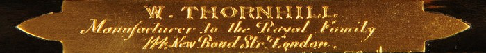 Walter Thornhill Gilt Brass Engraved Maker's Plate.