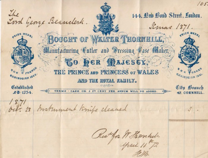An Invoice from Walter Thornhill - 144 Bond Street, London.