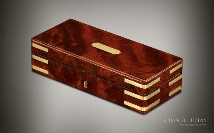 Miniature Antique Jewellery Box in Flame Mahogany, by William Lund.