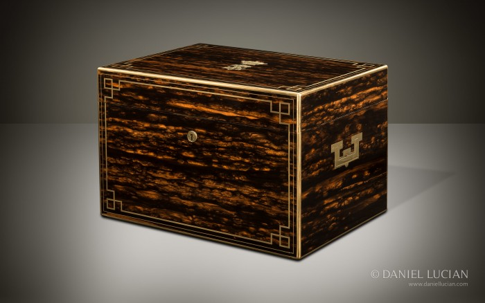 Extra Large Antique Jewellery Box in Coromandel with Concealed Drawers.