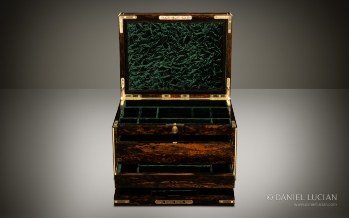Antique Coromandel Jewellery Box with Two Drawers and Secret Floor Compartment, by Leuchars.