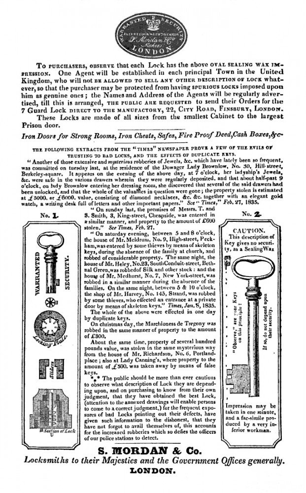 S. Mordan & Co. Advertisement from 1835.