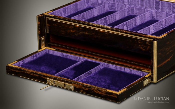 Asprey 'Exhibition' Piece - Antique Jewellery Box in Coromandel with Brass Inlay and Secret Compartments.