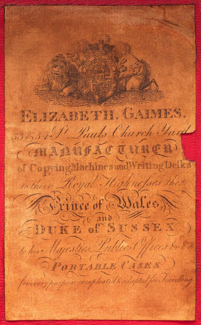 Paper manufacturer's label belonging to Elizabeth Gaimes of 53 & 54 St Paul's Churchyard, London.
