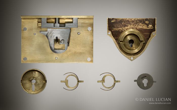 Antique Turner Patent Lock Disassembled.