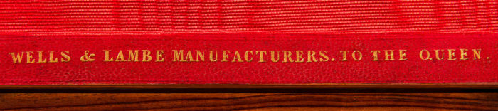 'Wells & Lambe Manufacturers To The Queen' Gold Tooled Maker's Mark Embossed into Leather.