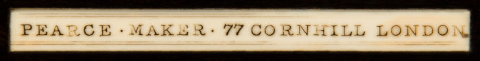 Ivory plaque bearing the manufacturer's mark of Joseph Pearce of 77 Cornhill, London.