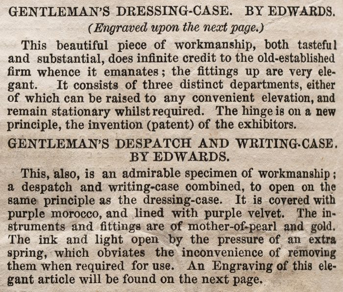 Description of the Gentleman's Dressing Case and Writing Case by Edwards, entered into the 1851 Great Exhibition.