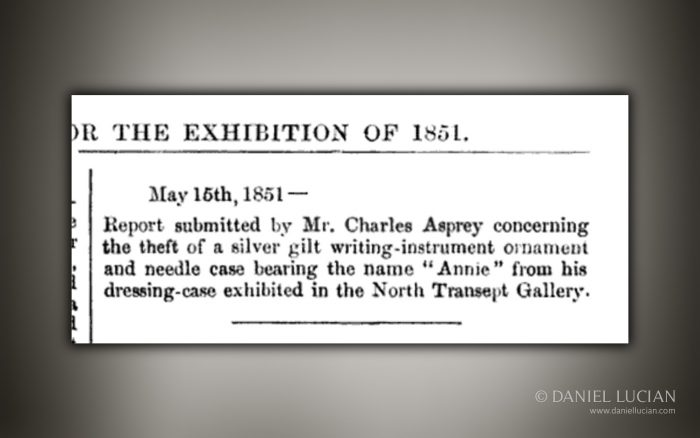 Crime report submitted by Charles Asprey two weeks into the Great Exhibition.