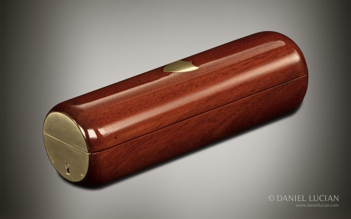 Miniature French Cylindrical Antique Jewellery Box in Cuban Mahogany.